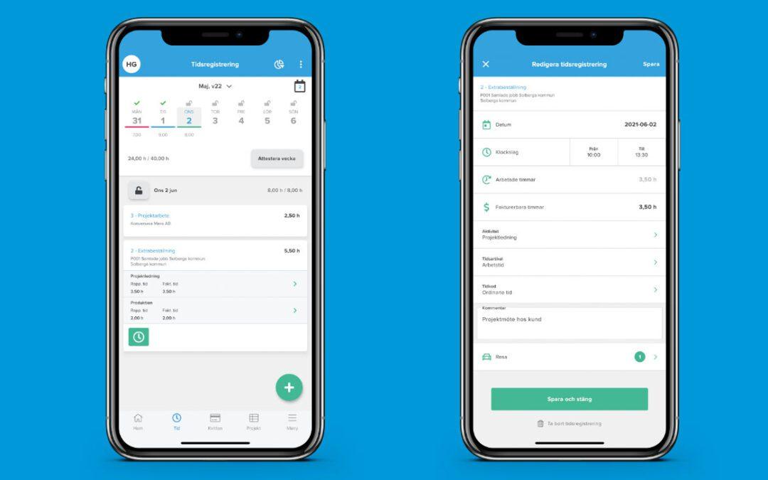 Ny version av Blikk mobilapp – ny layout och funktionalitet i tidrapporteringen